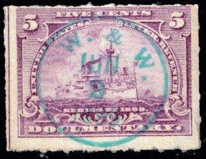 USA STAMP REVENUE BOB  #R167 5C 1898 W. & W. CANCEL STAMP