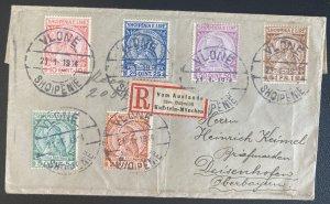 1919 Vlone Albania Registered Cover To Deisenhofen Germany Sc#35-40
