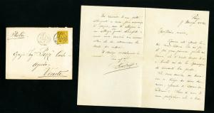 France Cover 1884 w/Stamp cancelled 2x back stamped