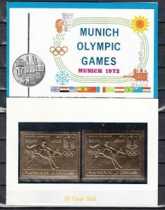 Ajman, Mi Cat. 963, A-B. Olympics, Equestrian, GOLD FOILS in a Souvenir Folder.
