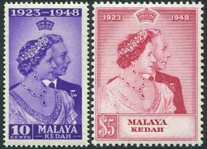 MALAYA(KEDAH)-1948 Royal Silver Wedding Set Sg 70-71 LIGHTLY MOUNTED MINT V33405