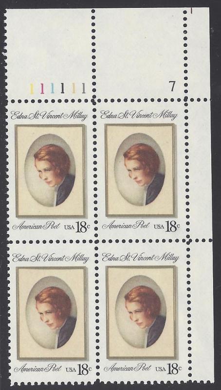 #1926 18c Edna St. Vincent Millay PB/4 1981 Mint NH