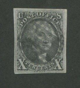 1847 United States George Washington Postage Stamp #2 Used VF Grid Cancel