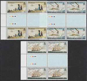 PITCAIRN 1981 Migration to Norfolk set gutter plate blocks MNH.............55250