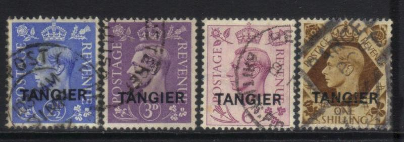MOROCCO AGENCIES 1937 TANGIER INTL ZONE DEFINS 4 USED VALUES CAT £10+