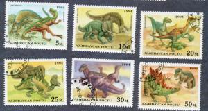 Azerbaijan Scott #446-451 Dinosaurs short set of 6 (1994) CTO NH