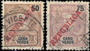 CAP VERT / CABO VERDE - 1911  S. VICENTE  cds on Mi.92/3 50R & 75R REPUBLICA