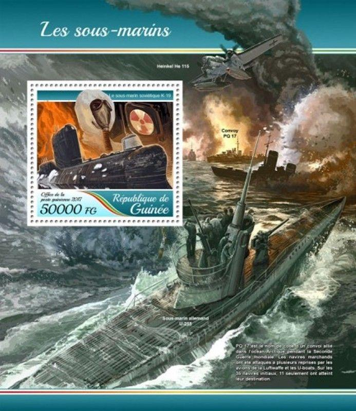 Guinea - 2017 Submarines - Stamp Souvenir Sheet - GU17425b