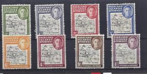 Falkland Islands (Dep.), 1L1-1L8, Maps Singles,**Hinged**