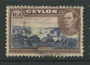 Ceylon #287 Used  1938  Single 1r Stamp