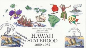 2080 20c HAWAII STATEHOOD - Collins Hand painted - Official & Unofficial cancels