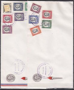 Nicaragua, Scott cat. 824~C442. President Lincoln. 2 Long First day covers. ^