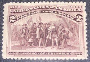 US #231 MNH OG.  1893 2c Columbian Commemorative.