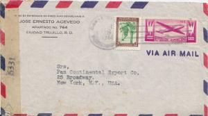 Dominican Republic 3c Bananas and 10c Plane 1944 San Francisco de Macoris, Re...