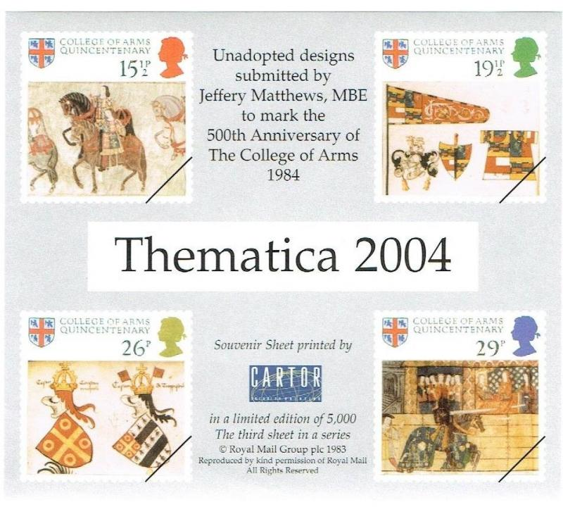 GREAT BRITAIN 2004 - THEMATICA 2004 SOUVENIR SHEET, JEFFREY MATTHEWS MBE