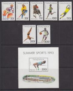 Tanzania Sc 1018-1025 MNH. 1993 Summer Sports incl Souvenir Sheet
