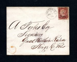 PENNY RED PLATE 130 USED ON COVER WITH 'HC&Co' PERFIN