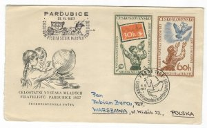 Czechoslovakia 1957 Used FDC Stamps Scott 811-812 Scouting Philately Music Dove