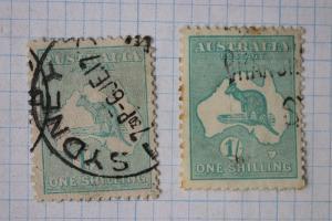 Australia sc#51 blue green teal Light dark shade color variety 1/ shilling used