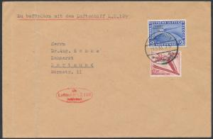 GERMANY #C44 ON LZ129 HINDENBURG ZEPP FLIGHT COVER 1936 COVER W/ LT FOLD BS4606
