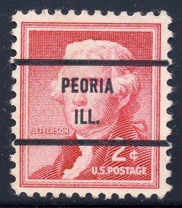 Peoria IL, 1033-71 Bureau Precancel, 2¢ Jefferson
