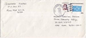 Caroline Islands Micronesia 2c Duperrey on 20c Four-Star Envelope 1985 Truk C...