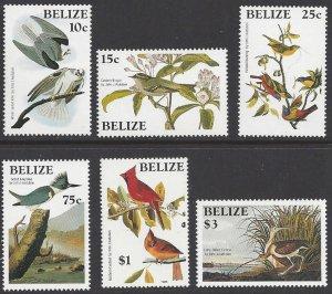 Belize # 750-55 MNH set,Audubon's birth centenary and illustrations, issued 1985