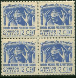 MEXICO 808, 12cents Blindfold Literacy Camp Blk 4 MNH VF. (143)