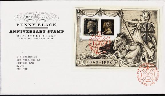 Great Britain. FDC.1990. Penny Black Miniature Sheet. Fine Used