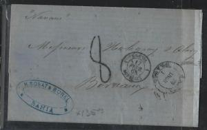BRAZIL  (PP2701B) 1868  BRTISH PO BAHIA TO FRANCE