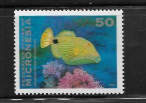 MICRONESIA,164,  MNH,ORANGE STRIPED TRIGGERFISH