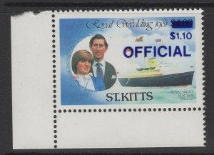 ST.KITTS SGO27f 1983 ROYAL WEDDING OFFICAL DEEP ULTRAMARINE SURCHARGE MNH
