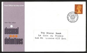 Great Britain new 10p New Definitive Values Bureau Edinburgh cancel (1971) FDC