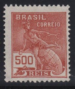Brazil 1920-22 500r Red Brown Unwatermarked. M Mint. Scott 218