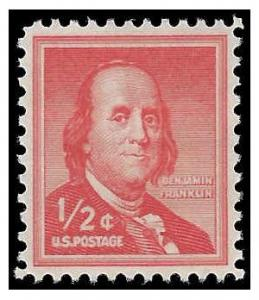 #1030 1/2c Benjamin Franklin 1958 Mint NH