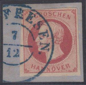 GERMANY HANOVER 1859-61 KING GEORGE V Sc 19b ON PIECE ..FRESEN 7/12 Cds VF