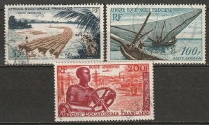 French Equatorial Africa 1955 Sc C39-41 air post set used