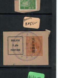 MALAYA JAPANESE OCCUPATION PERAK (P2508BB) KANJI PSC CUT OUT CANCEL NO 1  VFU