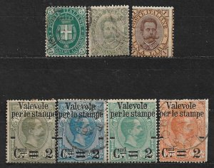 COLLECTION LOT OF 7 ITALY STAMPS 1889-90 CV + $87