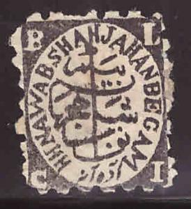 India - Feudatory state of Bhopal Scott 24 Unused typical centering and perfs