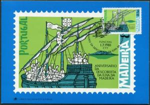 Portugal Madeira 75-76 maxi-cards,MNH. Discovery of Isle Madeira,1981.Ship,Map