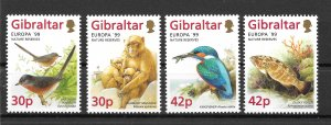 GIBRALTAR MNH SET SC#794-797 ANIMALS FISH BIRDS SCV$6.80