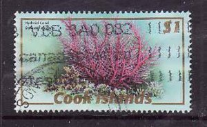 Cook Islands-Sc#1287b-used $1 coral-2007-