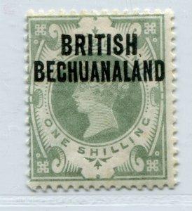 QV BRITISH BECHUANALAND VICTORIA 1/- GREEN OVERPRINT SCOTT 37 SG 37 VF MH