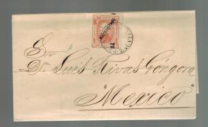 1872 Zacatecas Mexico Letter Cover to MExico City D Luis Rivas Gongora