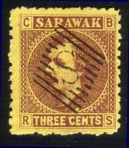 SARAWAK 1871 3c SG2 used with complete strike S IN BARS....................12926