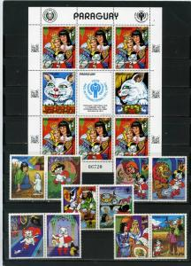 PARAGUAY 1982 STORY OF PUSS IN BOOTS SET OF 5 STAMPS W/LABELS & SHEET MNH