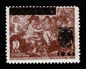 SPAIN STAMP PRE-WWII VELAZQUEZ LOS BORRACHOS 10 CENTIMOS OVERPRINT 1941 MNH-OG