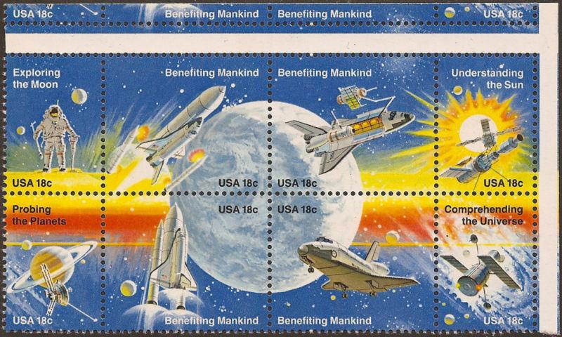 #1912-1919a 18¢ BENEFITING MANKIND SPACE WITH GUTTER IN BETWEEN ERROR BL382
