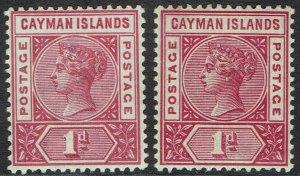 CAYMAN ISLANDS 1900 QV 1D BOTH SHADES
